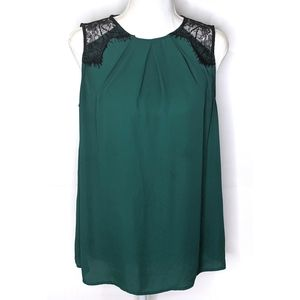 Emerald Green Blouse | Black Lace Shoulders